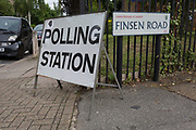 The polling station on Finsen Road SE24, on the morning of the UK 2017 general elections outside St. Saviour's Parish Hall in Herne Hill, Lambeth, on 8th June 2017, in London, England.