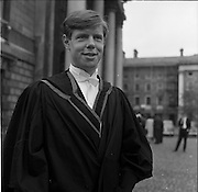 04/07/1963<br /> 07/04/1963<br /> 04 July 1963<br /> Degree day at Trinity College Dublin. John Robert Williamson, son of the Rev. Chancellor R.J. Williamson and Mrs Williamson, The Rectory, Clones who received the degrees BA, MB, BCh. and BAO at TCD, pictured after the conferring.