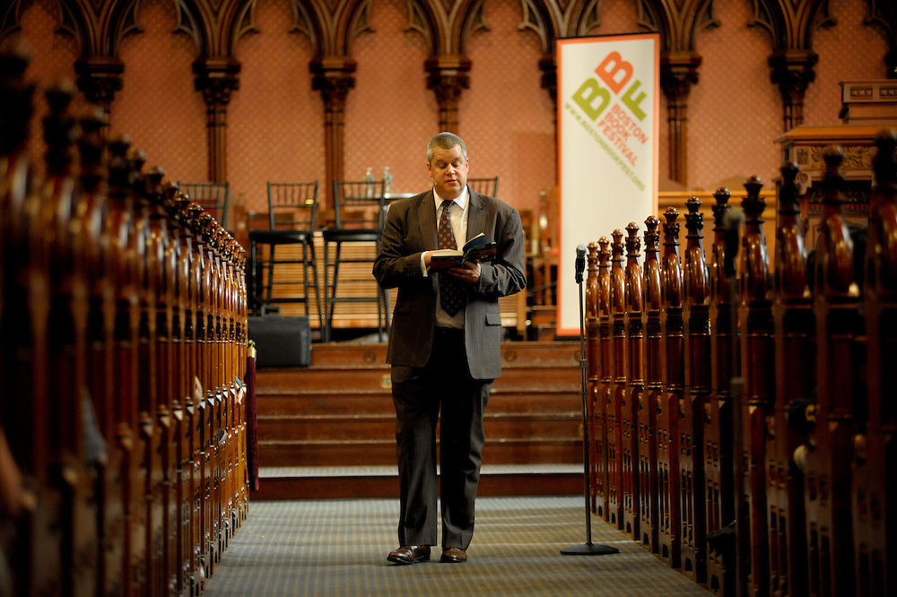 Lemony Snicket author Daniel Handler at the Boston Book Festival in Old South Church in Boston's Back Bay.