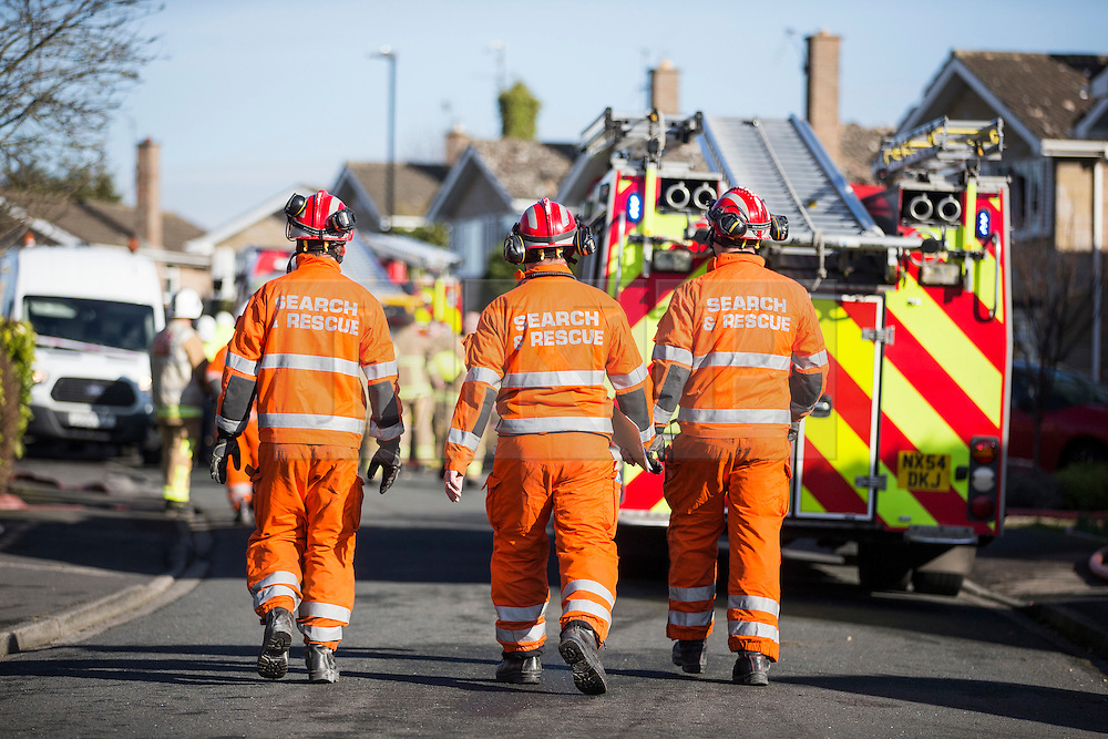 © Licensed to London News Pictures. 19/02/2016. Haxby UK. Picture shows emergency services on Springwood in Haxby after at least one casualty has been reported after a detached house was destroyed in what is believed to be a gas explosion. Photo credit: Andrew McCaren/LNP