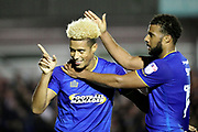 AFC Wimbledon striker Lyle Taylor (33) celebrating after scoring goal to make it 2-1 during the EFL Sky Bet League 1 match between AFC Wimbledon and Rotherham United at the Cherry Red Records Stadium, Kingston, England on 17 October 2017. Photo by Matthew Redman.