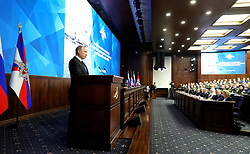December 18, 2018 - Moscow, Russia - December 18, 2018. - Russia, Moscow. - Russian President Vladimir Putin speaks at the expanded meeting of the Defense Ministry Board. (Credit Image: © Russian Look via ZUMA Wire)