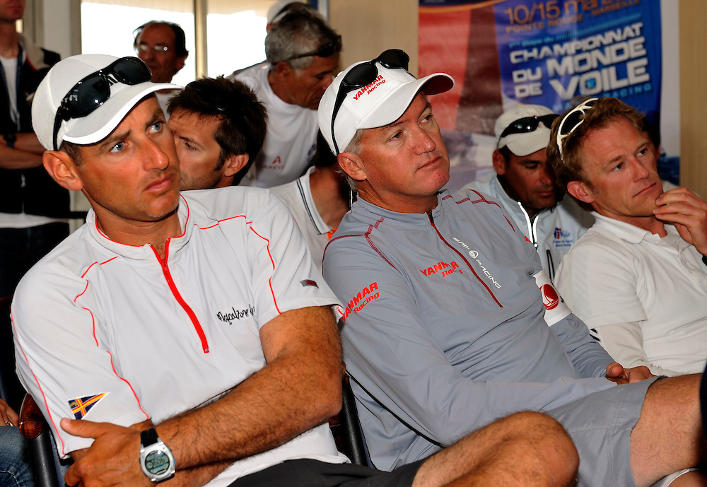 Bruni, Gilmour and Radich in Skippers Briefing. French Match Race. Photo:Chris Davies.