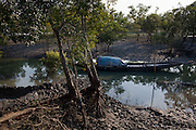 Local villagers use wooden boats to travel and fish in Gosaba island, Sundarban, West Bengal, India, on 18th January, 2012. The Sundarban islands and mangroves are sinking, say experts, due to climate change. Locals say they are overwhelmed by tourists' trash that affect the mangroves and sudden changes in weather patterns that have caused such damage that they continue to struggle to recover. One of the islands, once inhabited, has slowly sunk. Photo by Suzanne Lee for The National (online byline: Photo by Szu for The National)