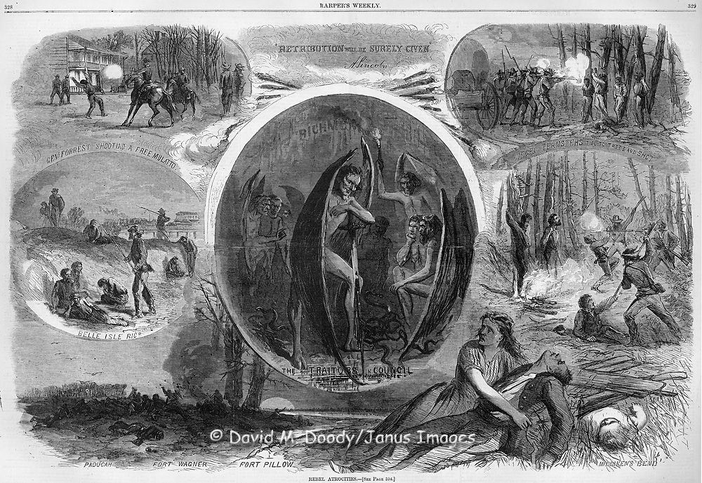 """Retribution Will Be Surely Given"" (Abe Lincoln) Rebel atrocities during the Civil War including a depiction of Confederate President Jeff Davis as the devil in ""a traitors council""  General Forrest shooting a free mulatto.  Fort Pillow massacre, Ft. Wagner, Milliken's Bend and the Belle Isle Prison in Richmond Virginia and murder of negro teamsters.  Illustration from Harper's Weekly 1864 by Thomas Nast"