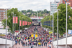 © Licensed to London News Pictures. 30/05/2015. London, UK. A crowded Wembley Way, as fans gather at Wembley Stadium for the FA Cup Final 2015, between Arsenal and Aston Villa. Photo credit : Stephen Chung/LNP
