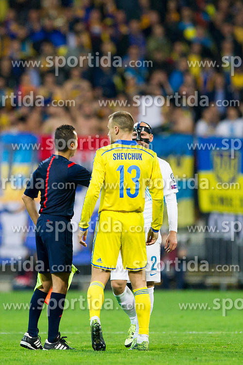 Referee with Vyacheslav Shevchuk (UKR) and Miso Brecko (SLO) during the UEFA EURO 2016 Play-off for Final Tournament, Second leg between Slovenia and Ukraine, on November 17, 2015 in Stadium Ljudski vrt, Maribor, Slovenia. Photo by Urban Urbanc / Sportida