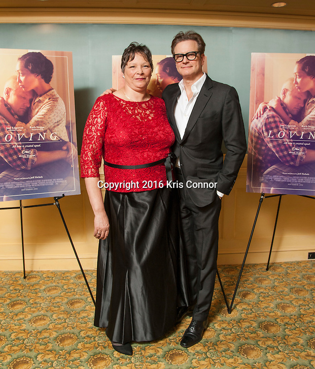 CHARLOTTESVILLE, VA - NOVEMBER 03:  Peggy Loving and Producer Colin Firth pose for a photo during the Virginia Film Festival premiere of Focus Features' Loving at The Paramount Theatre on November 3, 2016 in Charlottesville, Va. (Kris Connor/Focus Features)