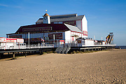 Britannia pier theatre and sandy beach in winter, Great Yarmouth, Norfolk, England