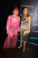 Left to right, ZANDRA RHODES and YUKI OSHIMA-WILPON at a party to celebrate Zandra Rhodes's return to London Fashion week and the launch of a limited edition of M.A.C makeup at Silver, 17 Hanover Square, London W1 on 20th September 2006.<br />