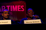 """Meadowood neighborhood activist, Sheray Wallace, right, makes a point during the panel discussion: """"How can Madison build more great neighborhoods?"""" at High Noon Saloon in Madison, Tuesday, November 7, 2017."""
