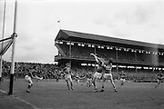 16/05/1965<br /> 05/16/1965<br /> 16 May 1965<br /> National Hurling League Final: Kerry v Laois at Croke Park, Dublin.<br /> Laois forward, J. Fitzpatrick (13) and Kerry forward, W. Maloney, reach for a high ball.
