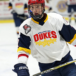 WELLINGTON, ON - FEBRUARY 9: Zack Uens #7 of the Wellington Dukes participates in the pre-game warmup on February 9, 2019 at Wellington and District Community Centre in Wellington, Ontario, Canada.<br /> (Photo by Ed McPherson / OJHL Images)