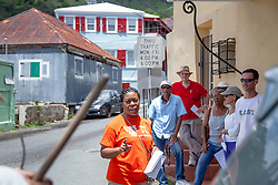 Nadine T. Marchena Kean leads a historic walking tour through the Garden Street neighborhood following the clean up.  Residents and volunteers gather for the Garden Street neighborhood cleanup and block Party hosted by E's Garden and Things, Long Path/Garden Street Community Association, and the Economic Development Authority's Enterprise and Commerical Zone Commission.  St. Thomas, USVI.  5 September 2015.  © Aisha-Zakiya Boyd