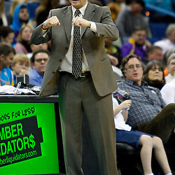 January 24,  2011; New Orleans, LA, USA; Oklahoma City Thunder head coach Scott Brooks against the New Orleans Hornets during the second quarter at the New Orleans Arena. Mandatory Credit: Derick E. Hingle