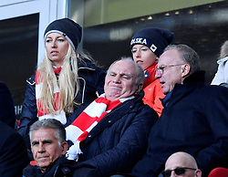 23.02.2019, Allianz Arena, Muenchen, GER, 1. FBL, FC Bayern Muenchen vs Hertha BSC, 23. Runde, im Bild Tribüne Karl-Heinz Rummenigge FC Bayern München Vorstandsvorsitzender (rechts) und Präsident Aufsichtsratsvorsitzender Uli Hoeneß FC Bayern München (links) <br />