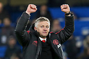 Manchester United interim Manager Ole Gunnar Solskjaer celebrates in front of fans after the The FA Cup 5th round match between Chelsea and Manchester United at Stamford Bridge, London, England on 18 February 2019.
