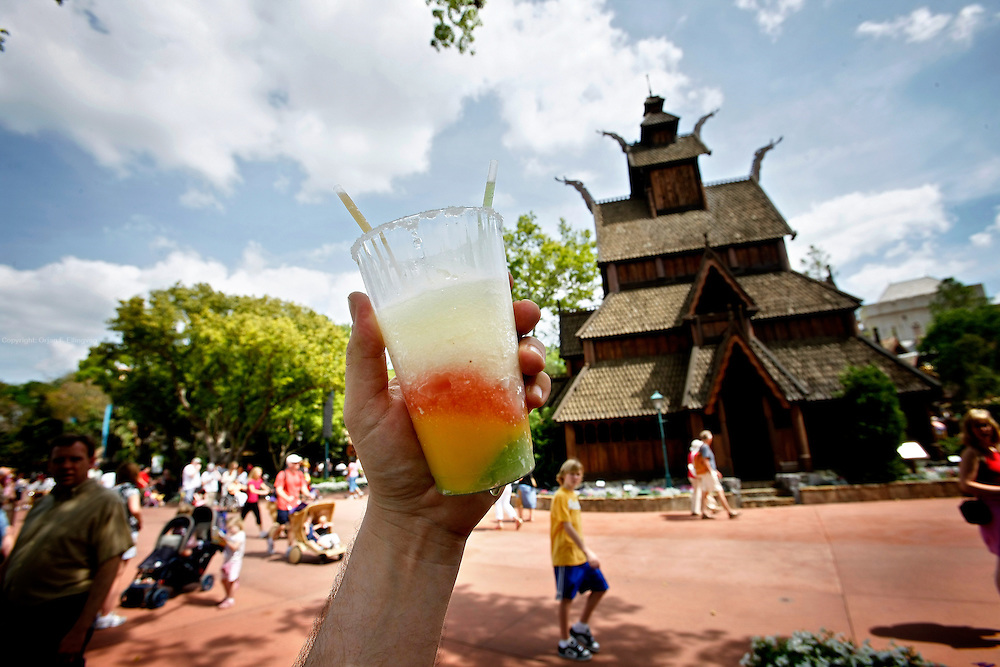 Orlando, Florida, USA, 20090325:   The Disney EPCOT Center in Orlando. Every coutry represented at the World Showcase serves specialty drinks. A Frozen Margarita from Mexico consumed outside the Norwegian Pavillion. Photo: Orjan F. Ellingvag/ Dagbladet/ Corbis