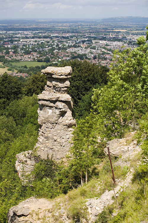 The Devils Chimney, Leckhampton Hill on the Cotswold Way National Trail, Gloucestershire, UK