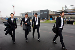 Aleksander Radosavljevic, Andraz Kirm, Branko Ilic and Zlatan Ljubijankic at departure of Slovenia's National football team to Belfast, Northern Ireland for EURO 2012 Quaifications game between National teams of Slovenia and Northern Ireland, on March 28, 2011, at Airport Edvard Rusjan, Maribor, Slovenia. (Photo by Vid Ponikvar / Sportida)