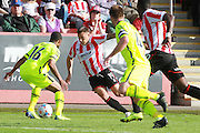 Matthew Hill and Lee Vaughan during the Vanarama National League match between Cheltenham Town and Tranmere Rovers at Whaddon Road, Cheltenham, England on 26 September 2015. Photo by Antony Thompson.