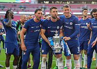 Football - 2018 FA Cup Final - Chelsea vs. Manchester United<br /> <br /> English players Daniel Drinkwater (Chelsea FC), Gary Cahill (Chelsea FC) and Ross Barkley (Chelsea FC) pose with the trophy at Wembley Stadium.<br /> <br /> COLORSPORT/DANIEL BEARHAM