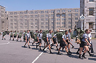 West Point, New York - Cadet candidates march to different stations at the United States Military Academy at West Point during Reception Day on July 2, 2014. About 1,200 cadet candidates, the West Point Class of 2018, reported to the academy to begin their military careers by getting lessons in marching, military courtesy and discipline.