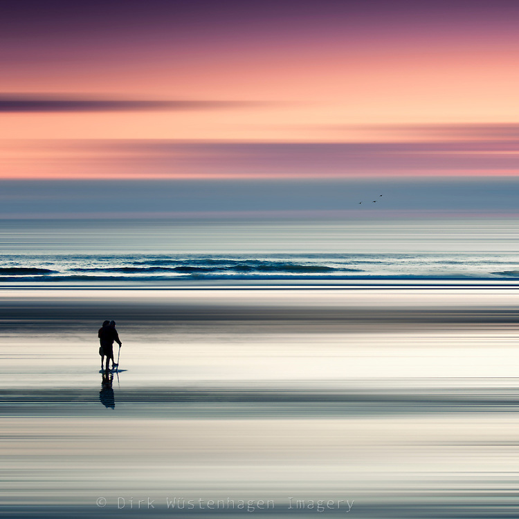 Abstraction of two people on a beach at sunset. Motion blur<br /> Contis-Plage, France<br /> <br /> Prints &amp; more:<br /> http://society6.com/DirkWuestenhagenImagery/one-fine-moment_Print