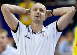 Head coach of Slovenia Jure Zdovc during the EuroBasket 2009 Semi-final match between Slovenia and Serbia, on September 19, 2009, in Arena Spodek, Katowice, Poland. Serbia won after overtime 96:92.  (Photo by Vid Ponikvar / Sportida)