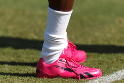 Oct 2, 2011; Oakland, CA, USA; Detailed view of pink shoes worn by New England Patriots wide receiver Chad Ochocinco (85) during warms up before the game against the Oakland Raiders at O.co Coliseum. Mandatory Credit: Jason O. Watson-US PRESSWIRE