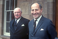 Captain Terence O'Neill, right, with the Governor of N Ireland, Lord Grey of Naunton. O'Neill had just tendered his resignation as Prime Minister of N Ireland at Government House, Hillsborough, Co Down. 1st May 1969. 196905000163<br /> <br /> Copyright Image from Victor Patterson, 54 Dorchester Park, Belfast, UK, BT9 6RJ<br /> <br /> t1: +44 28 9066 1296<br /> t2: +44 28 9002 2446<br /> m: +44 7802 353836<br /> <br /> e1: victorpatterson@me.com<br /> e2: victorpatterson@gmail.com<br /> <br /> IMPORTANT: My Terms and Conditions of Business are at www.victorpatterson.com