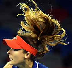 WUHAN, Sept. 28, 2017 Alize Cornet of France competes during the singles quarterfinal match against Maria Sakkari of Greece at 2017 WTA Wuhan Open in Wuhan, capital of central China's Hubei Province, on Sept. 28, 2017. Alize Cornet lost 0-2.  wll) (Credit Image: © Cheng Min/Xinhua via ZUMA Wire)