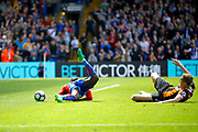 Hull City Defender Michael Dawson gives away penalty for his tackle on Crystal Palace midfielder Jeffrey Schlupp during the Premier League match between Crystal Palace and Hull City at Selhurst Park, London, England on 14 May 2017. Photo by Andy Walter.