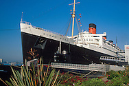 The Queen Mary Hotel and Russian Submarine tourist attraction at Long Beach, Los Angeles County, California