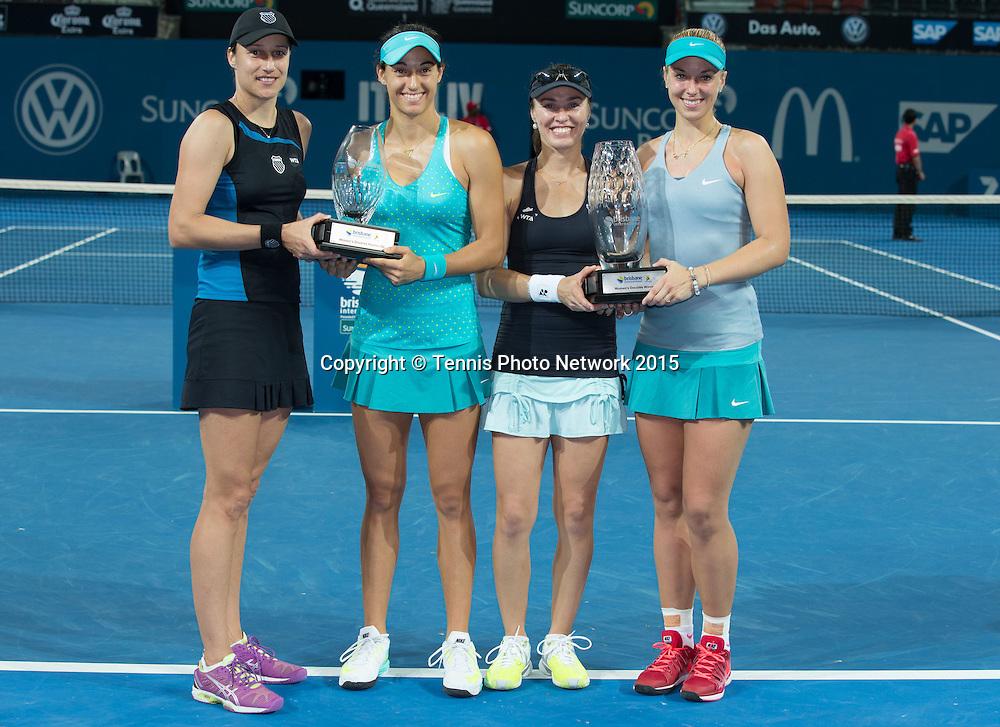 Siegerehrung mit Katarina Srebotnik, Caroline Garcia, Sabine Lisicki and Martina Hingis<br /> <br />  - Brisbane International 2015 - ATP 250 - WTA -  Queensland Tennis Centre - Brisbane - Queensland - Australia  - 10 January 2015. <br /> &copy; Tennis Photo Network