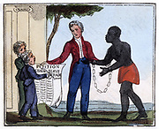 The Petition for Abolishing the Slave-Trade. 'Come, listen to my plaintive ditty,/Ye tender hearts, and children dear!/And, should it move your souls to pity,/Oh! try to end the griefs you hear.'  From Ameilia Opie 'The Black Man's Lament; or How to Make Sugar', London, 1826.