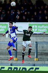 Luke Leahy of Bristol Rovers contends for the aerial ball with Joe Edwards of Plymouth Argyle - Mandatory by-line: Ryan Hiscott/JMP - 01/12/2019 - FOOTBALL - Memorial Stadium - Bristol, England - Bristol Rovers v Plymouth Argyle - Emirates FA Cup second round