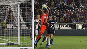 Olympique Lyonnais goalkeeper Sarah Bouhaddi (16) makes a save in the final game against the North Carolina Courage during an International Champions Cup women's soccer game, Sunday, Aug. 18, 2019, in Cary, Olympique Lyonnais bested the North Carolina Courage 1-0 in the finals.  (Brian Villanueva/Image of Sport)