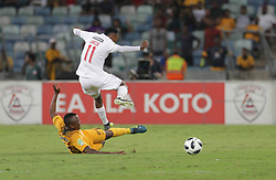 21042018 (Durban) Chiefs player Tshepo Masilela tackle with Stars Player Sinethember Jantjie when Kaizer Chiefs takes on Free State Stars in the first Semi-Final at the Moses Mabhida Stadium On Saturday evening. FreeState let the way with a lead of 2-0 before halftime<br /> Picture: Motshwari Mofokeng/ANA