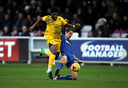 Paul Robinson of AFC Wimbledon brings down Ellis Harrison of Bristol Rovers - Mandatory byline: Robbie Stephenson/JMP - 07966 386802 - 26/12/2015 - FOOTBALL - Kingsmeadow Stadium - Wimbledon, England - AFC Wimbledon v Bristol Rovers - Sky Bet League Two