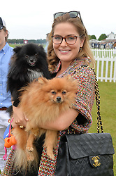 The HON.PHILIPPA CADOGAN with dogs Louis & Ninja at the Cartier Queen's Cup Polo final at Guard's Polo Club, Smiths Lawn, Windsor Great Park, Egham, Surrey on 14th June 2015
