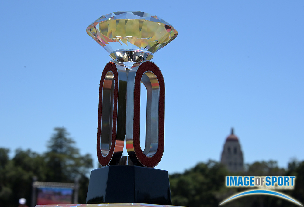 Jun 30, 2019; Stanford, CA, USA; Detailed view of the IAAF  Diamond League trophy with Hoover Tower as a backdrop during the 45th Prefontaine Classic at Cobb Track & Angell Field.