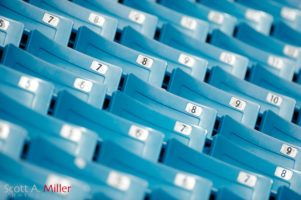 Close up of empty seats during the NFL game between the Houston Texans and the Jacksonville Jaguars, at EverBank Field on September 16, 2012 in Jacksonville, Florida. ©2012 Scott A. Miller.