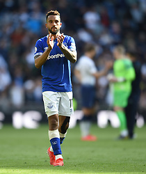 Everton's Theo Walcott applauds the away fans at full time
