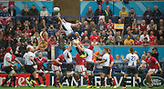Leicester, Great Britain, Line out action, Valentin POPARLAN, gets a slight deflection on the ball, during the Pool D game, Canada vs Romania.  2015 Rugby World Cup,  Venue, Leicester City Stadium, ENGLAND.  Tuesday    06/10/2015.   [Mandatory Credit; Peter Spurrier/Intersport-images]