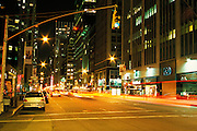 nocturnal midtown street scene New York City