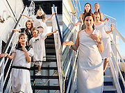 In the bath tub and on the ski slope: Photographer recreates a host of childhood holiday snaps 20 years on with her sisters<br /> <br /> A Finnish photographer set out to recreate childhood holiday pictures taken by her father 20 years ago with amusing and touching results.<br /> Wilma Hurskainen rounded up her three younger sisters and set off for the destinations they visited with their parents - and this time she directed the shots herself.<br /> The four siblings did their best to mimic the original images, which were taken between 1986 and 1990. They struck the same poses and imitated their facial expressions, acknowledging the difficulty encountered in family photos when everyone needs to look at the camera at the same time.<br /> They even tried to pay homage to their '80s fashions by wearing the same colours and styles of outfit - sporting matching tops or hoodies in different colours.<br /> In the series, titled 'Growth', Hurskainen snapped the scenes as closely as she could to her dad's efforts, to give a glimpse of how much the sisters have physically grown over the past 20 years.<br /> The matching sailor dresses might now be a thing of the past, but the siblings effortlessly slip into their younger roles - and now they are even taller than their mother.<br /> <br /> In one particularly poignant shot, the grown-up sisters pose on a sofa but cannot fully recreate the shot as their grandfather has since died.<br /> Hurskainen wrote on her website that she would love to get her sisters together again for a new set of the photos as they get older.<br /> The photographer told the My Modern Metropolis website: 'The most important thing is that in the end my sisters were pleased with the whole thing.<br /> 'It was sometimes a little hard finding the places of the original photos, finding the proper clothing and dealing with the emotions that emerged because of the process of digging up the past.'<br /> <br /> Photo shows: The Hurskainen sisters recreate a photo