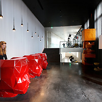 Nederland, Amsterdam , 10 oktober 2013.<br /> Het nieuwe Art'otel in het voormalige Kadasterpand aan de Prins Hendrikkade met kunst van kunstenaar Joep van Lieshout.<br /> The new Art'otel on Prins Hendrikkade in Amsterdam with art by artist Joep van Lieshout.