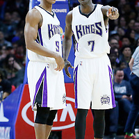 16 January 2016: Sacramento Kings guard Rajon Rondo (9) is seen next to Sacramento Kings guard Darren Collison (7) during the Sacramento Kings 110-103 victory over the Los Angeles Clippers, at the Staples Center, Los Angeles, California, USA.