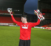 Captain Grant Lawson celebrates with the trophy after Tayport beat North End 4-1 in the GA Engineering Cup Final at Tannadice<br /> <br />  - &copy; David Young - www.davidyoungphoto.co.uk - email: davidyoungphoto@gmail.com
